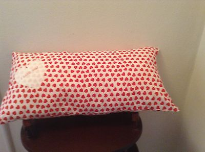 New Handmade White w/Red Hearts Cotton Pillow 20 1/2 x 10 1/2 w/Heart Applique