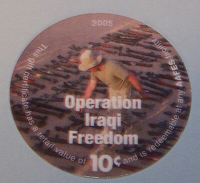 6L10  Solder and confiscated  weapons  10 Cents AAFES Pogs About Uncirculated