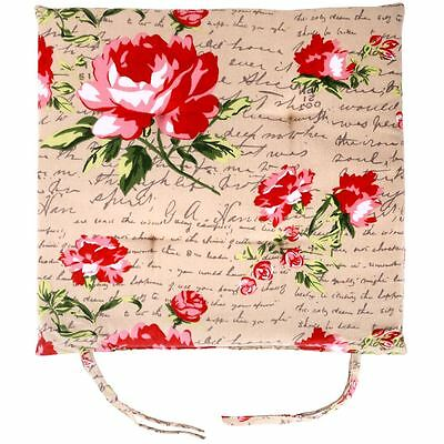 Set 4 Floral Roses Outdoor/ Indoor Patio Backyard Kitchen Chair Pads Cushions