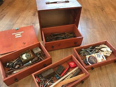 Vintage wooden engineering tool box with tools
