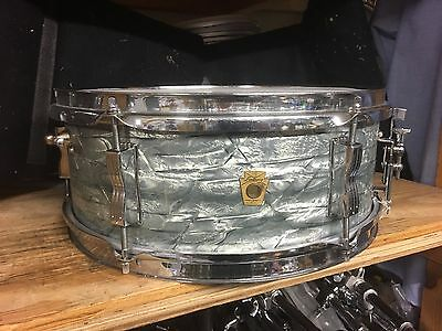 1960's Ludwig Keystone Badge 5x14 Sky Blue Pearl Snare Drum !!