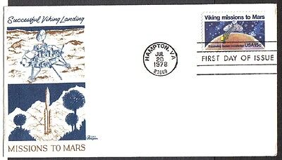 Us Fdc 1978 Viking Missions To Mars Landing Bazaar Cachet First Day Of Issue