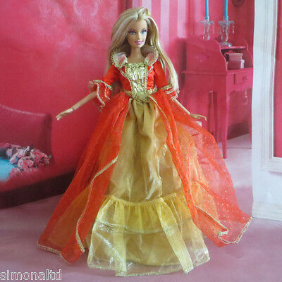 Red Color Princess Dress Handmade Doll Clothes for Barbie Doll Party Gift