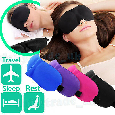 3D Eye Mask Soft Padded Blindfold Travel Rest Sleeping Aid Sleep Cover Black New