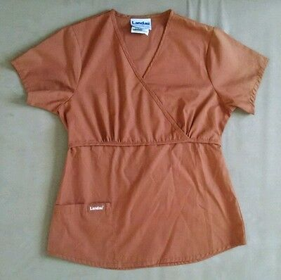 Landau Womens Nurse Medical Scrub Top Solid Burgundy/Brown Size XS
