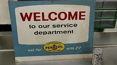 Vintage PENNZOIL metal sign welcome to our service department