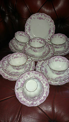 6 Allertons antique 'meredith' teaset pink/purple & white trios cups saucers tea