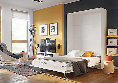 Modern Vertical Wall Hidden Fold Away Pull Out Murphy Bed 3 Sizes in White Gloss
