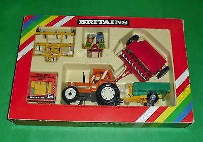 Vintage Britains Fiat Tractor and Farm Implements Set No 9591