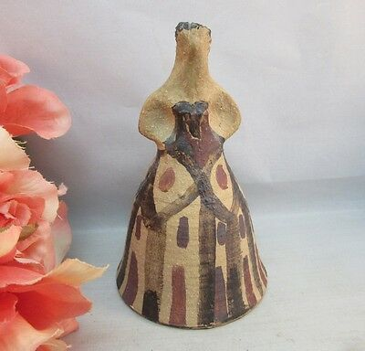 Vtg hand made, painted mud clay pottery bell. Lady in dress