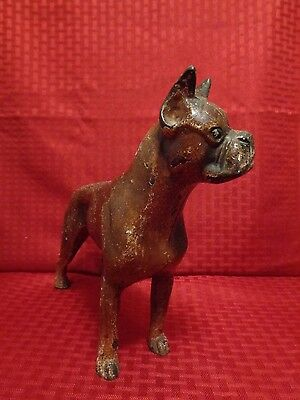 1930s Rare Heavy Antique Hubley Cast Iron Boxer Dog Doorstop