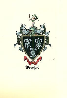 *Great Coat of Arms Woodford Family Crest genealogy, would look great framed!
