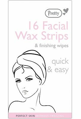 Pretty 16 x FACIAL WAXING STRIPS for lip chin jaw cheeks - quality hair removal