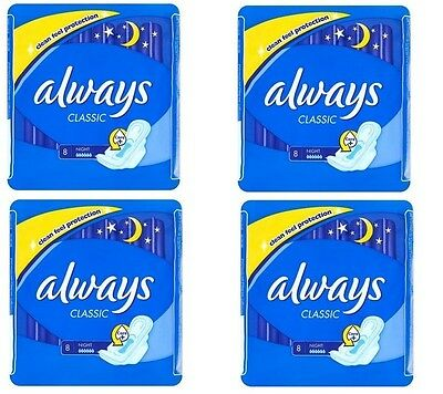 Always Classic Sanitary Towels for Night 8 pcs - set of 4 packs