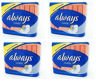 Always Classic Sanitary Towels Normal 10pcs - set of 4 packs