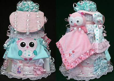 Starting Out Owl Bird BABY DIAPER CAKE bib outfit pacifier blanket plush toy