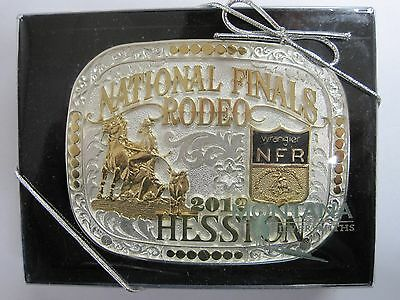National Finals Rodeo Silver and Gold Hesston 2012 NFR Adult Cowboy Buckle New