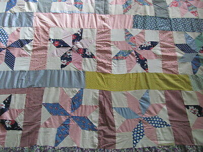 Vintage 1940's era feed sack cotton Star large size quilt top