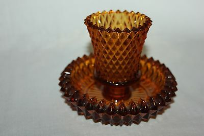 Indiana Glass Amber Diamond Point Taper Candle Holder with Votive Cup