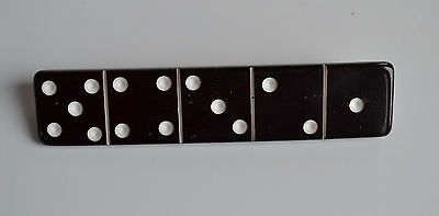 large Vintage plastic black & white domino piece brooch pin carved dots