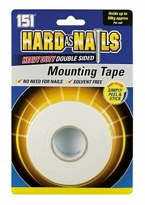 50-KG Hard As Nails Heavy Duty Double Sided Mounting Tape Solvent 24mm x 5m