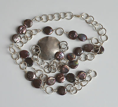 OOAK VINTAGE ARTIST silver 925 bold chain genuine PEACOCK PEARL beaded NECKLACE