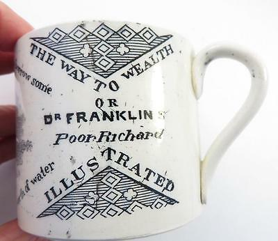 benjamin franklin early 1800s SOFT PASTE MOTTO MUG SHAVING THE WAY TO WEALTH