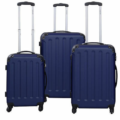 NEW 3 Pcs Luggage Travel Set Bag ABS+PC Trolley Suitcase Dark Blue