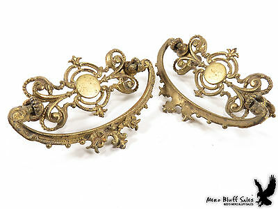2 Antique Cast Brass Drawer Pull Handles Victorian Fancy Furniture Hardware