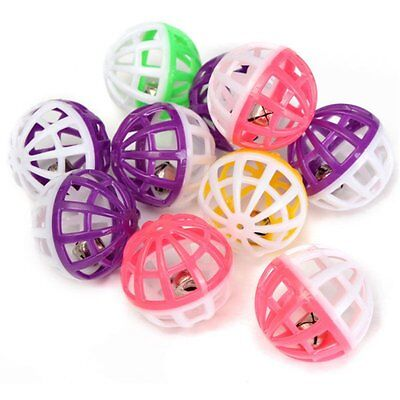 Plastic Cat Kitten Pet Play Balls With Jingle Bell Pounce Chase Rattle Toy 8 Pcs