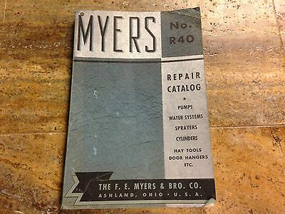 Late 1930's-Early 1940's Myers Repair Catalog No. R40 Ashland, Ohio Pumps, Etc.