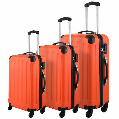 New 3 luggage travel suits ABS + PC trolley suitcase orange