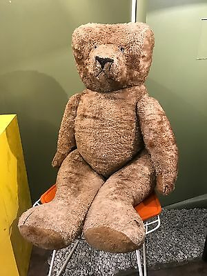 Grand Teddy Bear - Ours - Paille - Old - Ancien Jouet -1940-1950