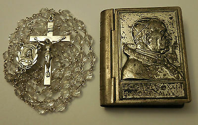 Antique Creed Sterling Silver Czech Crystal Rosary with Case