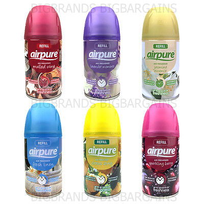 3 x Airpure Freshmatic Automatic Spray Refills Freshener 6 Types 3 Pack 250ml