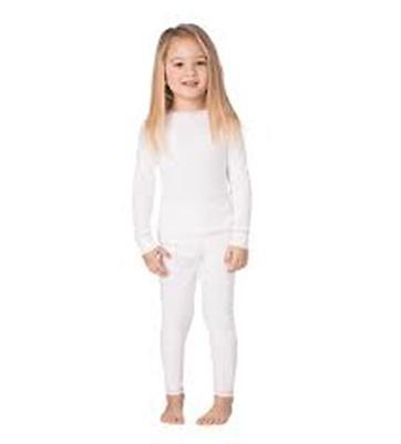 Cuddl Duds Comfortech Poly Base Layer Long John Underwear Girls White 2T 3T NEW