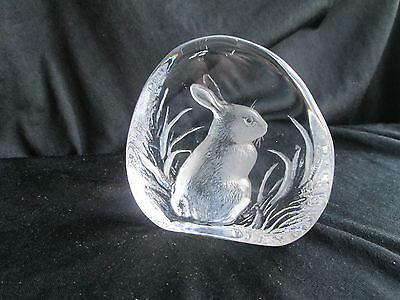 "Signed Mats Jonasson ""rabbit ""swedish Glass Paperweight   Excelent Condition"