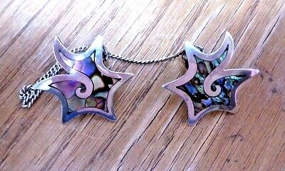 Vintage Sterling Silver Collar tips w/ Abalone and connecting chain- Marked