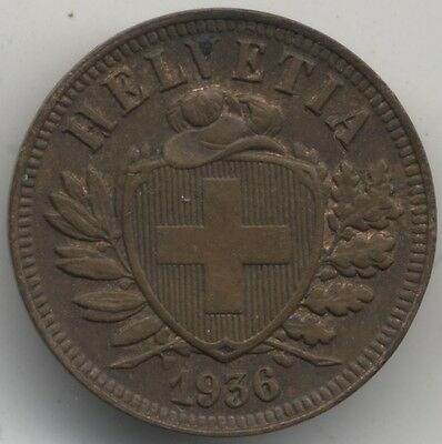 1936 B Switzerland 2 Rappen***Collectors***High Grade***