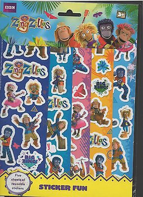 ZingZillas 5 pack Sticker Sheets - reusable stickers from the hit BBC show