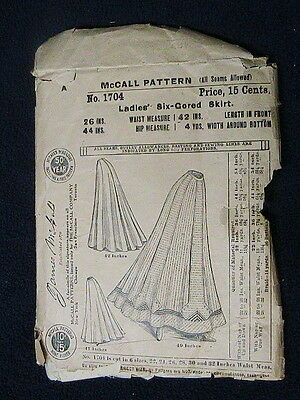McCALL'S  PATTERN NO. 1704 LADIES SIX-CORED SKIRT WAIST 26 INCHES EARLY1900's