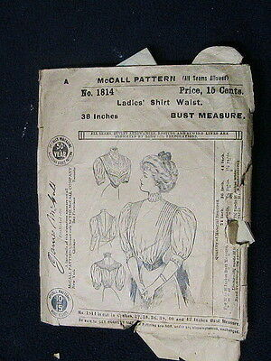 VINTAGE ANTIQUE MCCALL'S PATTERN NO. 1814 SHIRT  WAIST BUST 38 EARLY1900's
