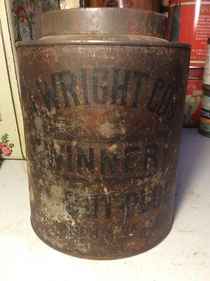 Vintage J. Wright Co's Winner Cut Plug Canister Tobacco Tin Can Advertising Rare