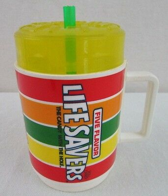 Vintage Lifesavers Colored Cup Mug Plastic Yellow Lid Deka USA