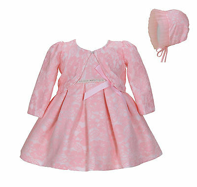 Cinda Baby Lace Christening Party Dress Bonnet Jacket White Pink 0 3 6 9 12 18
