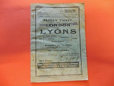London to Lyon Railway / ferry ticket book stubs 1936