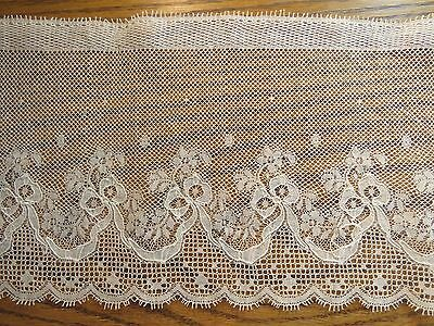 """Antique Lace Trim Wide Edging Flowers Raised Thread Ribbon Bow 36"""" x 5 3/4"""""""
