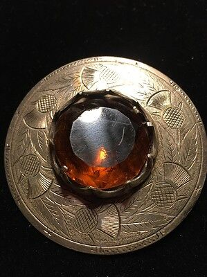 Large Silver Celtic Scottish Mitzpah Style Citrine/Cairngorm Brooch