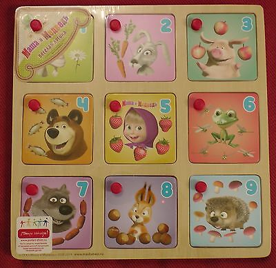 Wood toy Funny logic 9 items Number Masha and the Bear Masсha Bär Orso for child