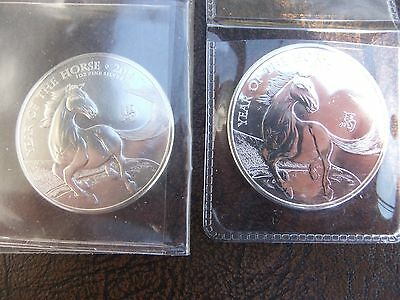 2x 2014 1 oz *BU* Silver UK Great Britain Lunar Year of Horse